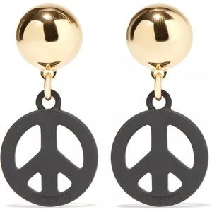AW15 Peace Sign Black Metal Clip On Earrings
